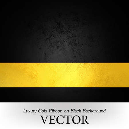 luxury formal black background vector with gold ribbon layout