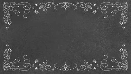 black banner: black background texture with white lace chalk design illustration on border, old chalkboard texture illustration with white sponged texture, old vintage black background banner