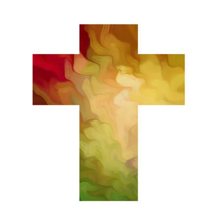crucify: cross with stained glass effect Stock Photo