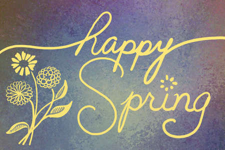 cursive: cute happy spring greeting in hand written cursive typography lettering