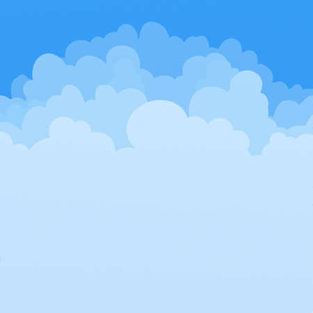 blue sky with clouds: layers of puffy clouds background illustration
