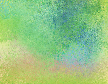 spattered: green banner background with rough distressed vintage texture and blue green and yellow colors Stock Photo