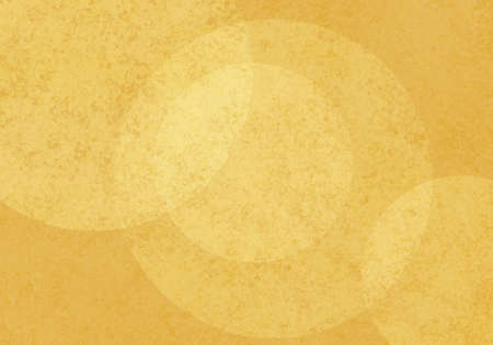 large yellow bokeh lights background with textures. Cool floating layers of bubbles or round circle shapes on yellow sponged texture background. Abstract modern art design layout.