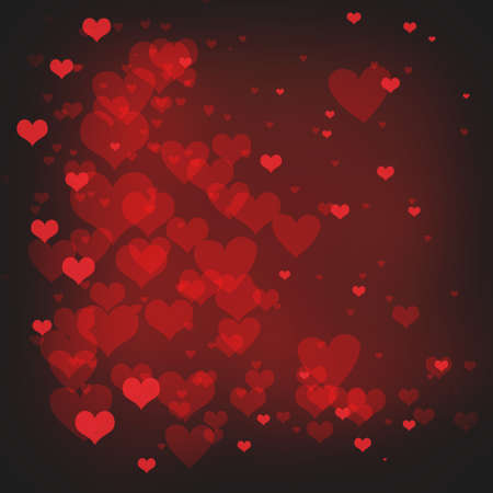 february 14th: valentines day background with hearts floating on red background