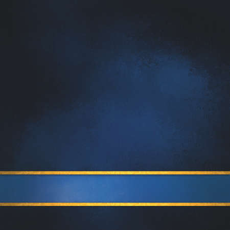 blue background with blue ribbon and gold trim stripes, elegant rich dark blue color with shiny thin stripes of gold along bottom border for adding your own text or title, blue footer Reklamní fotografie