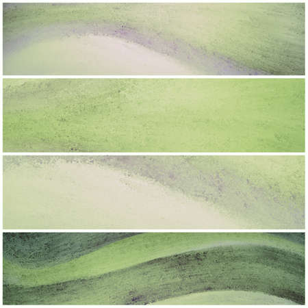 sidebar: green and white banner backgrounds with waves of painted grunge textured stripes, set of green headers footers or sidebar designs for website template layouts Stock Photo