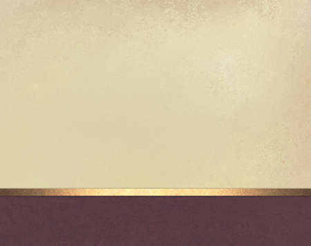 beige background with purple wine color footer and gold ribbon trim