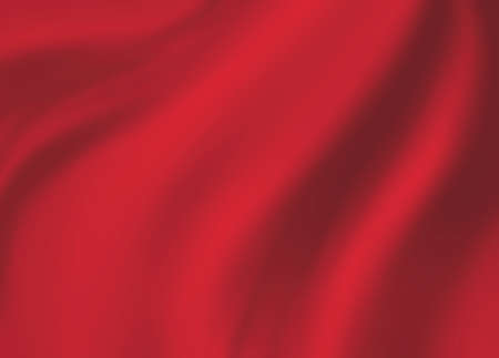 red background cloth illustration. Wavy folds of silk texture material.