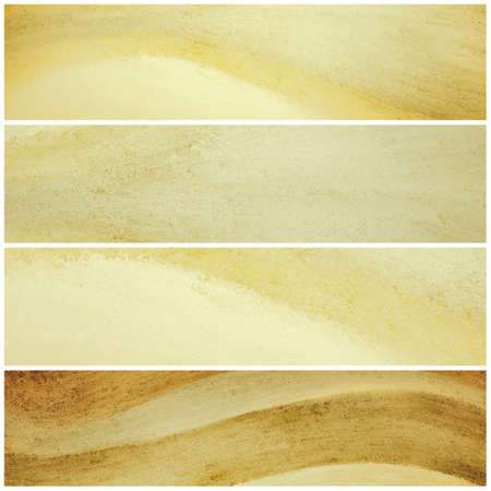 sidebar: brown and yellow banner backgrounds with waves of painted grunge textured stripes, set of brown and gold headers footers or sidebar designs for website template layouts Stock Photo