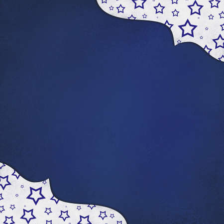 superstar: white and blue background with stars and graceful corner design with center copyspace
