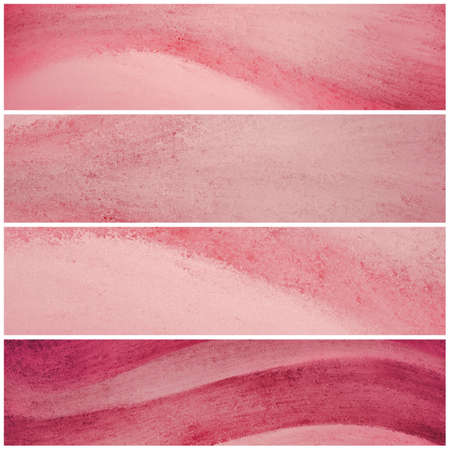 art blog: pink banner backgrounds with waves of painted grunge textured stripes, set of pink headers footers or sidebar designs for website template layouts