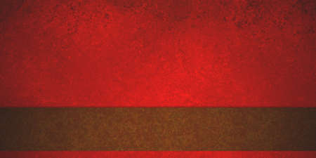 red background with warm brown stripe or ribbon design