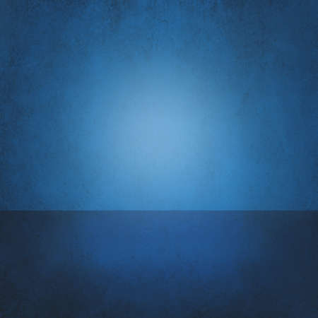 product display: Abstract blue background, empty room interior, wall floor reflection. Stage, studio, 3d room or box product display. Interior room floor and walls, sales ad background, dramatic presentation design