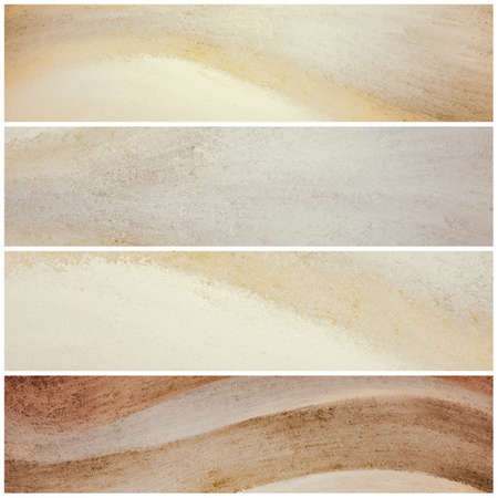 beige backgrounds: brown and beige banner backgrounds with waves of painted grunge textured stripes, set of brown and yellow headers footers or sidebar designs for website template layouts