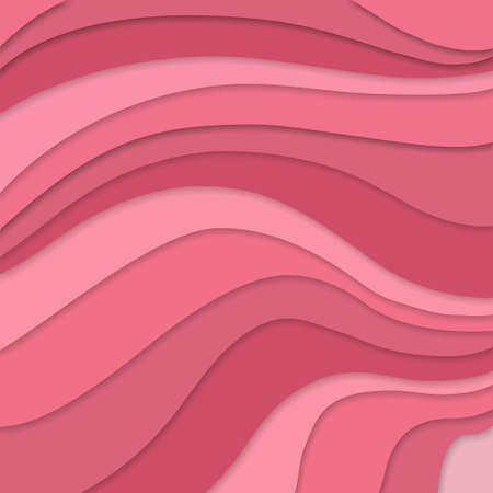 terraced: pink colors in layered flowing waves concept in abstract striped pattern, pink background material design