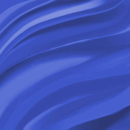 blue background cloth illustration. Wavy folds of silk texture material with deep wrinkles or drapes Stock Photo