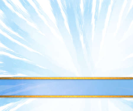 white trim: abstract blue and white background with soft zoom pattern and light sky blue ribbon with gold striped trim
