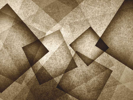 angles: abstract background, layers of intersecting angles, rectangles and squares floating in random pattern, transparent with intricate texture, sepia brown background Stock Photo