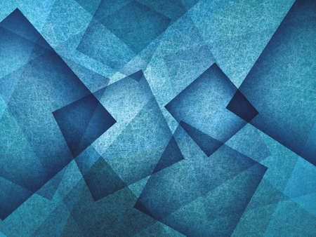 abstract: blue background with rectangle and diamond shapes in transparent layers floating in the sky, cool artsy background design Stock Photo