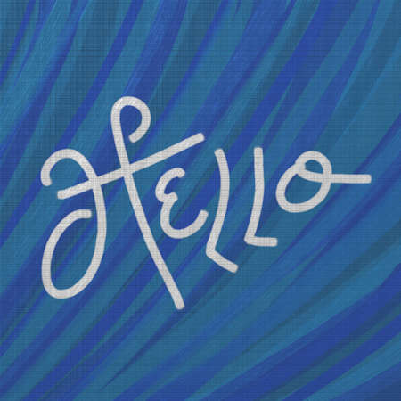 blog design: hand written hello in white typography on textured blue background, introduction or contact us concept for blog or website design, fun cute card or other graphic art projects, friendly Hi greeting