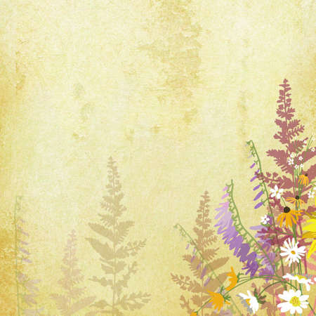 old paper background with hand drawn flowers on border