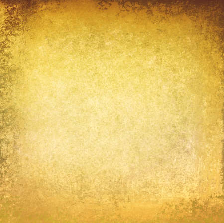 flecks: gold textured background. torn gold paper with grunge paint design, shiny solid gold background with brown border, gold flecks, gold peeling paint Stock Photo