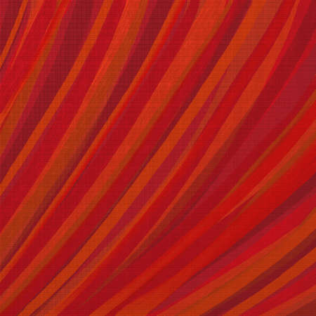 abstract curve stripe background in warm red orange and brown with canvas texture