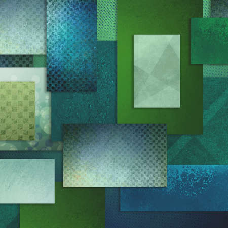 page layout: teal blue green background with various detailed fine canvas texture patterns on blocks rectangles and squares Stock Photo
