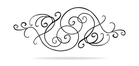 Festoneado encaje frontera o borde con rizos y remolinos en un patrón simétrico, diseño de la boda o el acento de estilo victoriano Foto de archivo - 63672613