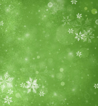 background green: white falling snow on bright green background, Merry Christmas or winter background design with falling snowflakes