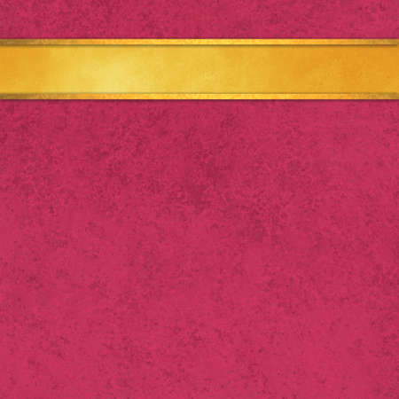 shiny gold: pink background with gold ribbon, elegant rich pink color with shiny blank stripe of gold along top border for adding your own text or title, gold header Stock Photo