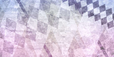 weathered: abstract pink purple blue and white background, layers of faded pink and blue diamond shapes in rows on white background, grunge background with vintage texture and wrinkled paper style