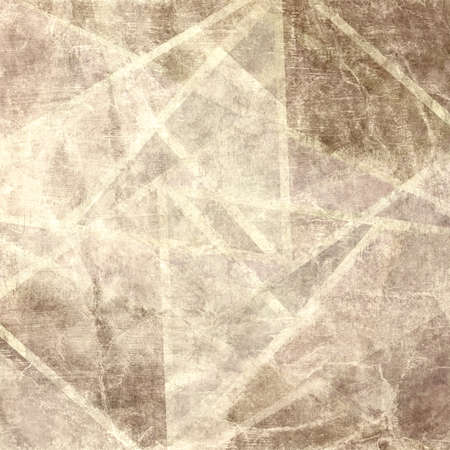 beige: faded brown background with abstract geometric lines in intersecting pattern, old beige or white lines on rough vintage distressed background, sepia color parchment or old wrinkled paper background Stock Photo