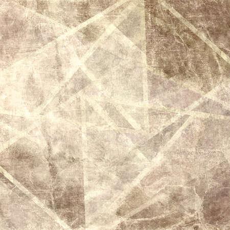Sfondo marrone sbiadito con linee geometriche astratte in intersezione, vecchie linee beige o bianche su sfondo ruvido d'epoca afflitto, pergamena di colore seppia o vecchio sfondo di carta rugosa