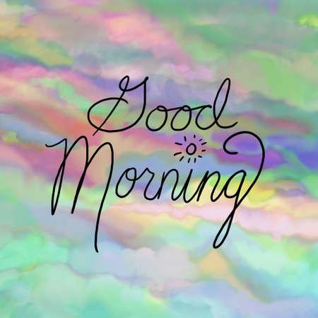 Good morning typography text on watercolor sunrise background design Standard-Bild