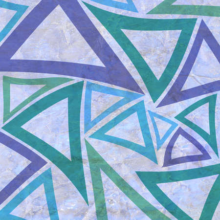 graphic pattern: abstract background with geometric triangle elements in purple green and blue on crumpled old white paper
