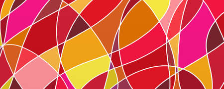 abstract background in bright doodle shapes in warm red orange purple and yellow colors with white outlines