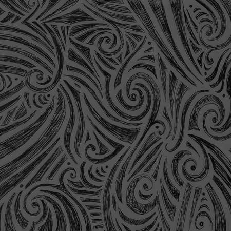 hand drawn doodle sketch with random curls swirls and line design pattern, cute abstract fun art, elegant fancy black wallpaper background illustration Stock Photo