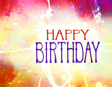 Happy Birthday with hand drawn typography letters and bright colorful background with paint stains and splatter texture Stock Photo