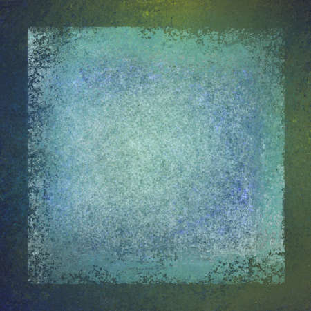 shine: blue green background frame with faded white vintage center layer with cracked and stained texture, shabby rough distressed textured background design