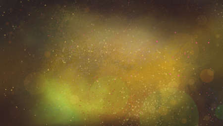 shiny gold: abstract gold background with bokeh lights, paint splatter, and thick black vignette border, elegant blurred out of focus white lights or stars on orange yellow textured background with black edges
