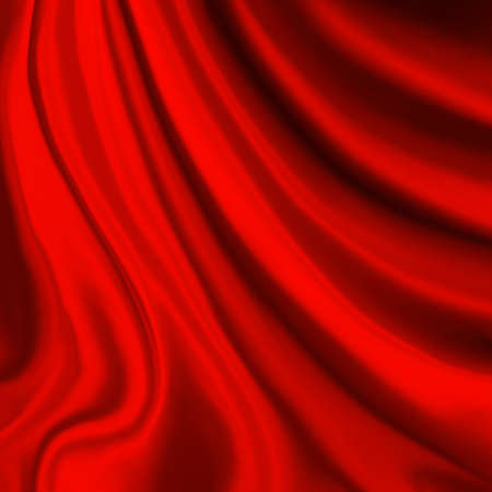 red material draped in wavy folds, elegant luxury stage curtain or creased material background design