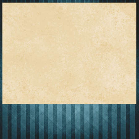 distressed paper: faded blue striped background pattern, beige or cream colored insert of distressed old paper texture, blue outline border  and faint angled line design Stock Photo
