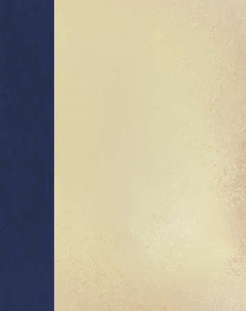 worn: vintage beige or off white background paper texture with dark blue sidebar design