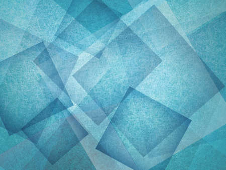 composition: blue background with rectangle and diamond shapes in transparent layers floating in the sky, cool artsy background design Stock Photo