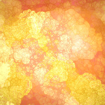 abstract wrinkled or crinkled gold and orange painted background design with glassy texture bubbles with lines and gloss highlights in random abstract pattern, cool fresh background design Stock Photo
