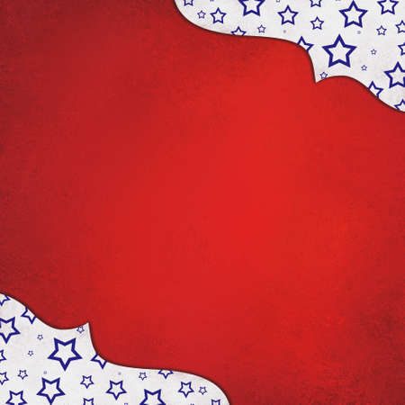 red white and blue background with stars and graceful corner design with center copyspace