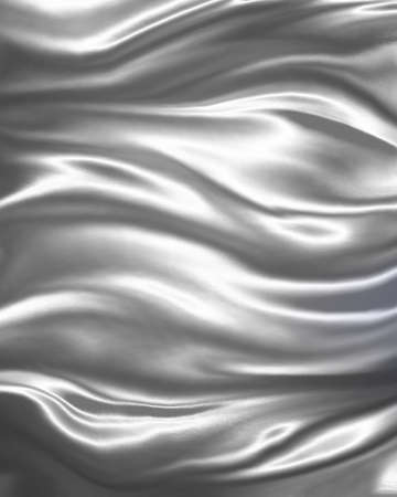 grey background texture: flowing white material background, elegant luxury material with draped folds and wrinkled creases of smooth wavy silk fabric, liquid silver design
