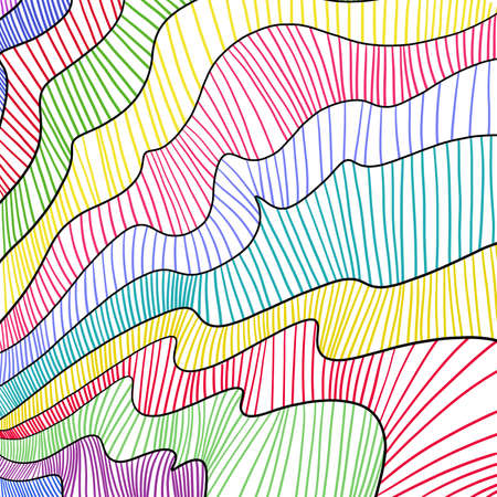 waves: fun colorful background design with abstract black line or striped pattern in curves and waves in blue purple green red yellow pink and teal colors, artsy modern art or fanciful comic style Stock Photo