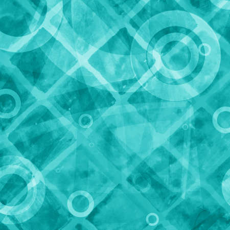 tile pattern: blue green abstract background with double exposure diagonal blocks and line pattern, with circle rings and triangles in white overlay design element